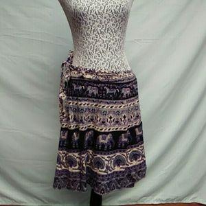 Elephant print wrap skirt